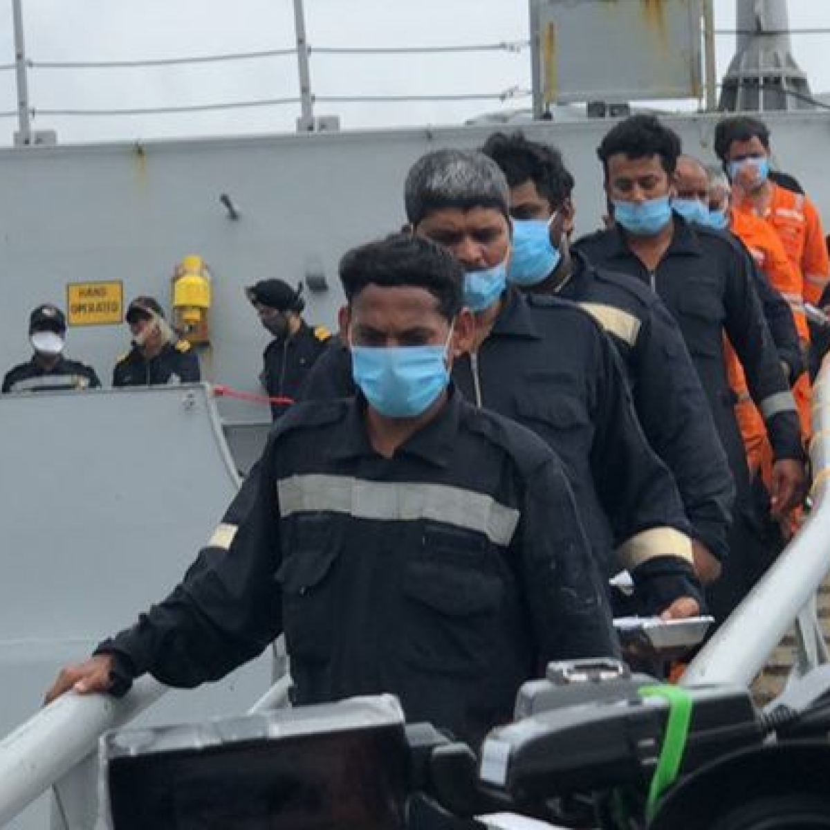 In pictures:  Indian Navy rescues 186 of 273 onboard Cyclone Tauktae affected Barge P305; operation continues