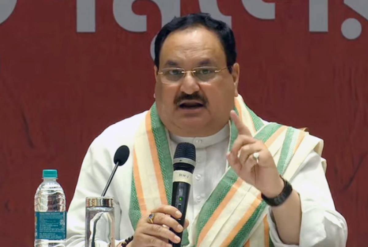 BJP National President J.P Nadda addresses a press conference, in Kolkata on Wednesday.