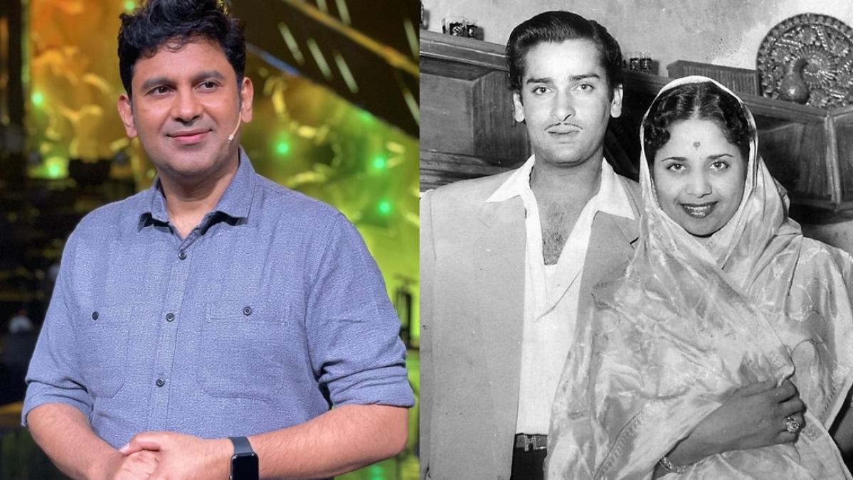 L - Manoj Muntashir, R - Shammi Kapoor with Geeta Bali
