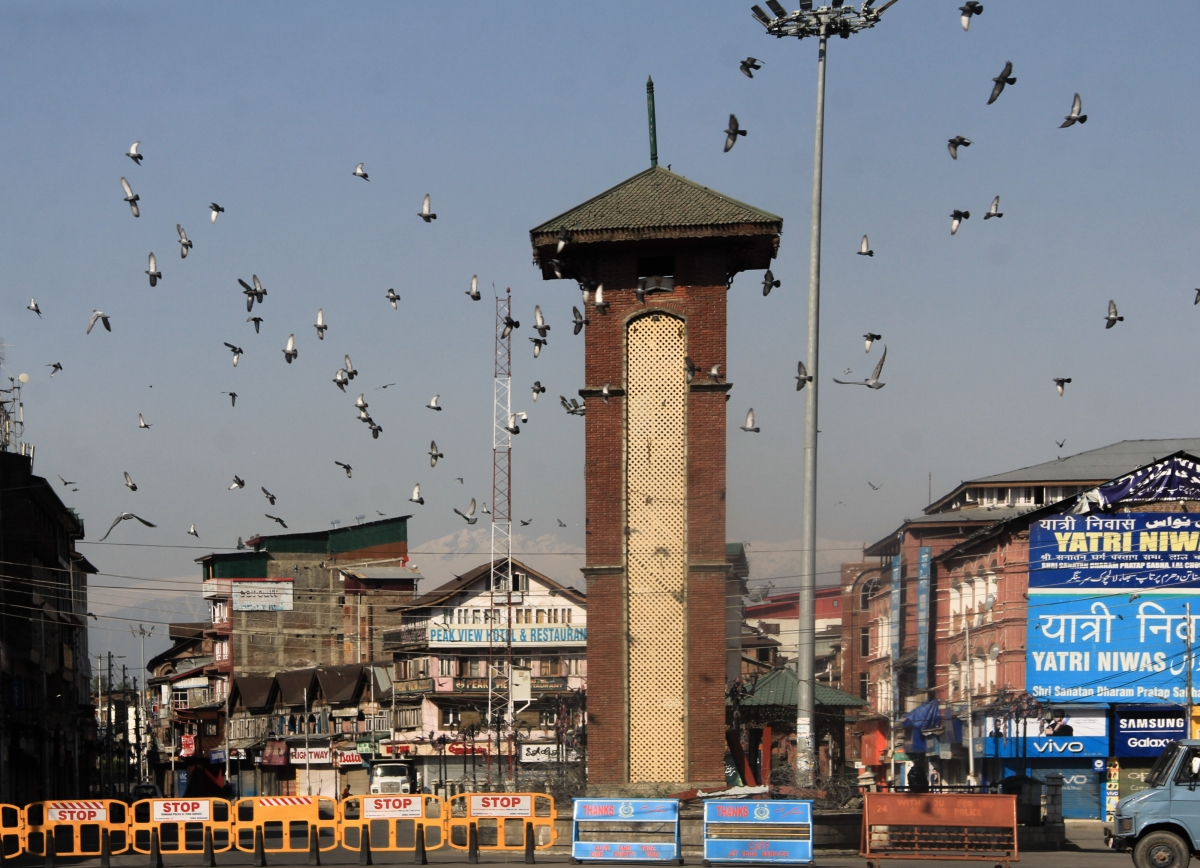 Barricades are erected by police near a check point during Corona curfew in Srinagar, Kashmir. As the COVID-19 cases continue to rise the authorities imposed strict Corona curfew across Jammu and Kashmir in order to stop further spread of Coronavirus.