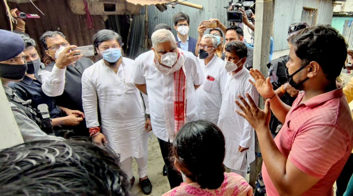 West Bengal, May 13 (ANI): West Bengal Governor Jagdeep Dhankhar visited post-poll violence-affected areas at Sitalkuchi in Cooch Behar on Thursday. He was shown black flags by some people, during the visit.