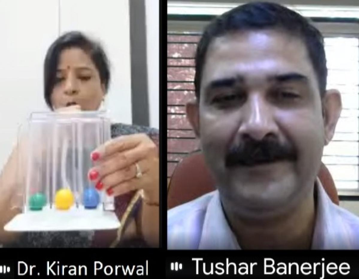 Dr Kiran Porwal (L) and Dr Tushar Banerjee (R) address day-3 of week-long HEAP, 2021