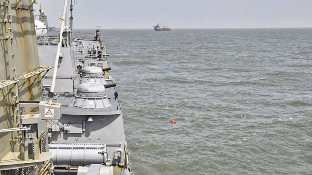 Indian Navy carries out search and rescue operations(SAR) for the missing crew members of barge P305
