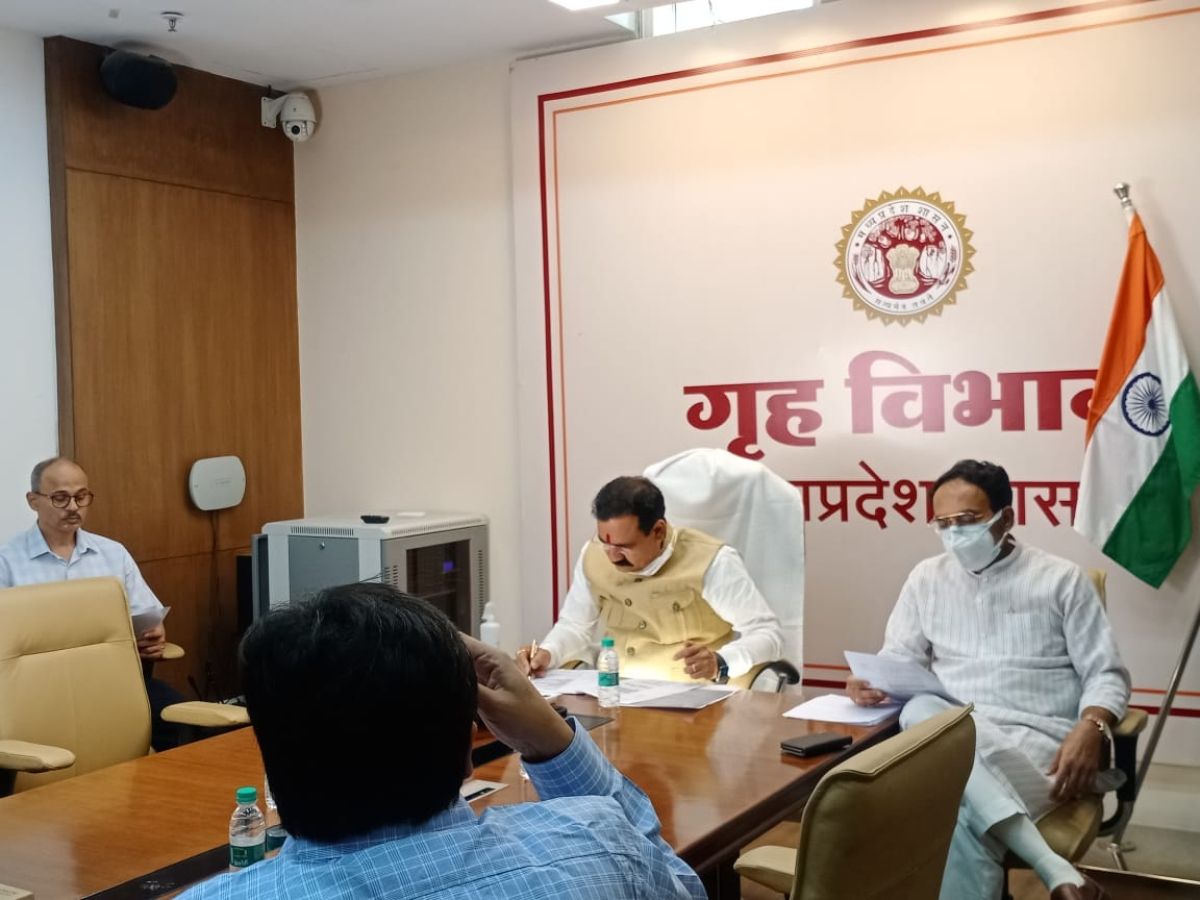 Home minister Narottam Mishra attending meeting of group of ministers held on Thursday.