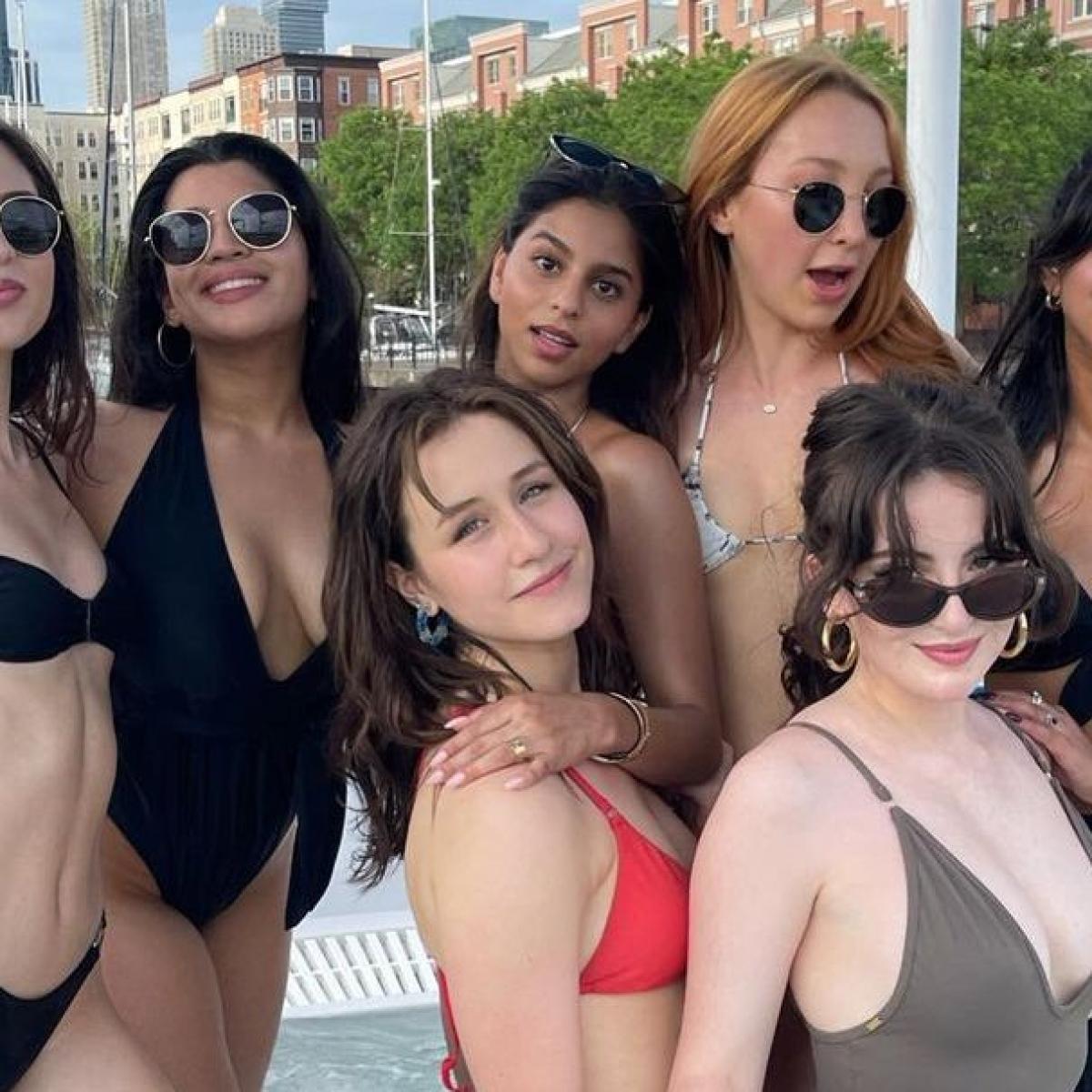 Bikini-clad Suhana Khan strategically hides behind girl gang in New York pool date pics