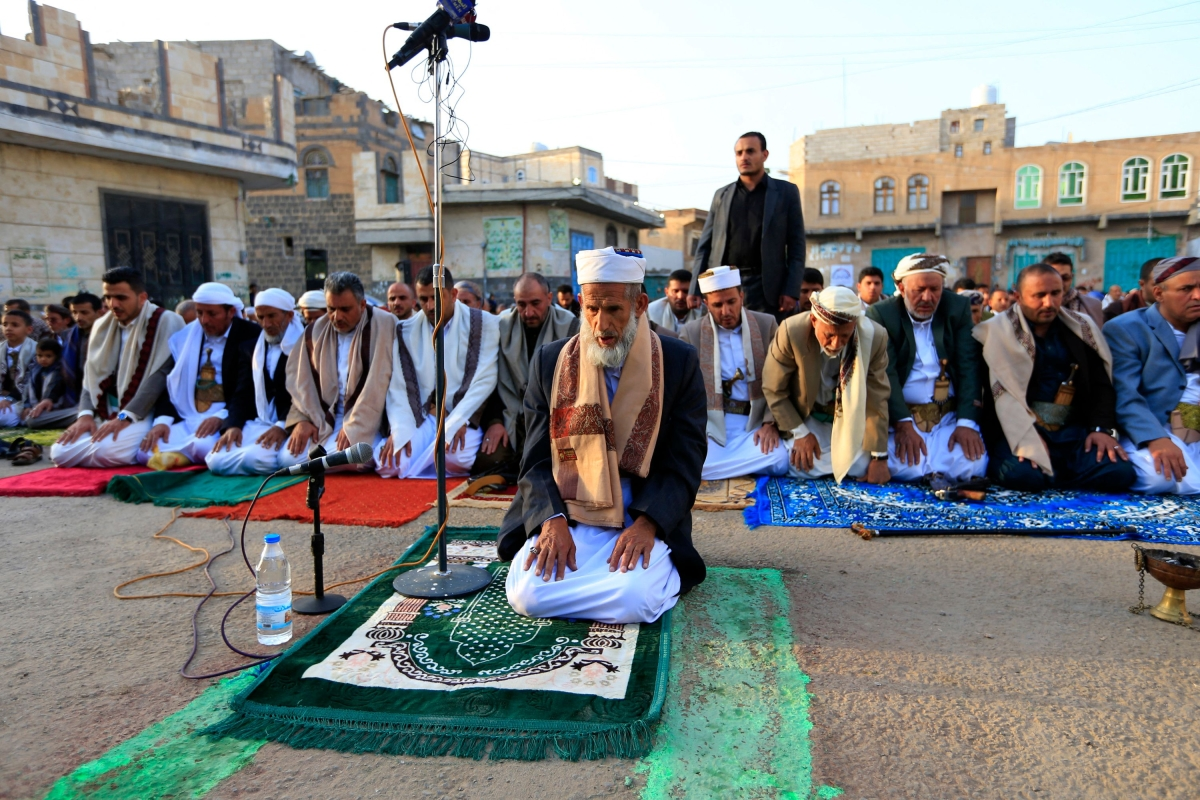 Yemeni Muslim worshippers perform the Eid al-Fitr prayers in the capital Sanaa on May 13, 2021, to mark the end of the holy month of Ramadan.