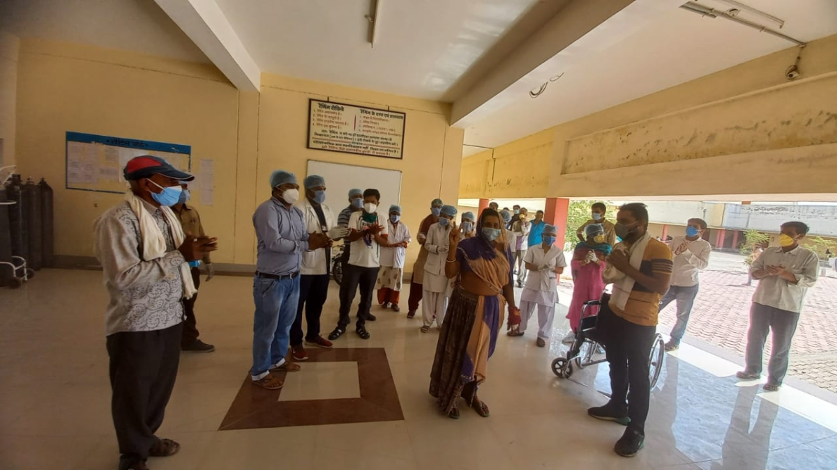 Patients moving out of hospital after they recovered from the Covid-19 in Mandsaur on Tuesday