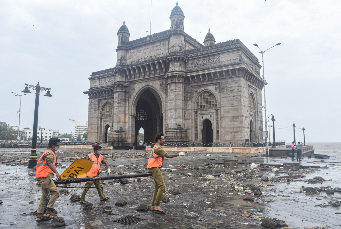 Mumbai: Restoration works underway at the Gateway of India in the aftermath of Cyclone Tauktae, in Mumbai, Tuesday, May 18, 2021.