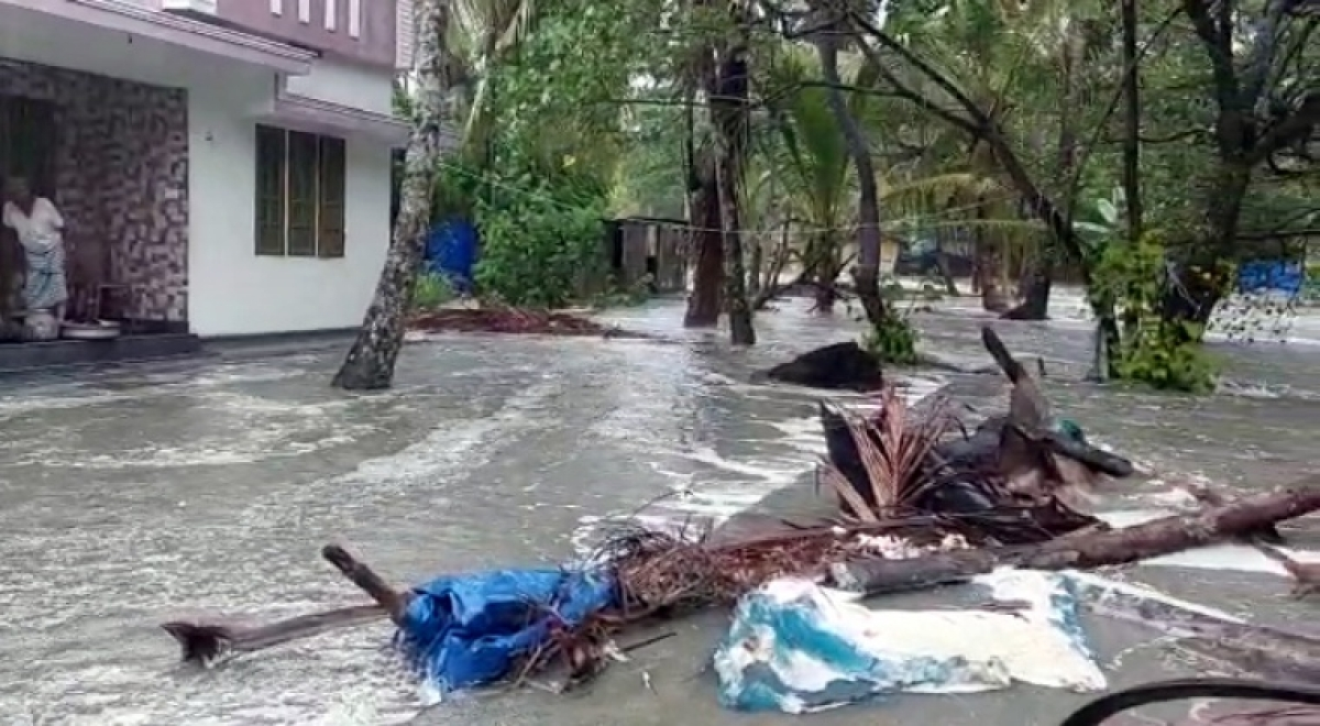 A view of a waterlogged street due to heavy rains continues to lash the city under the influence of Cyclone Taukta