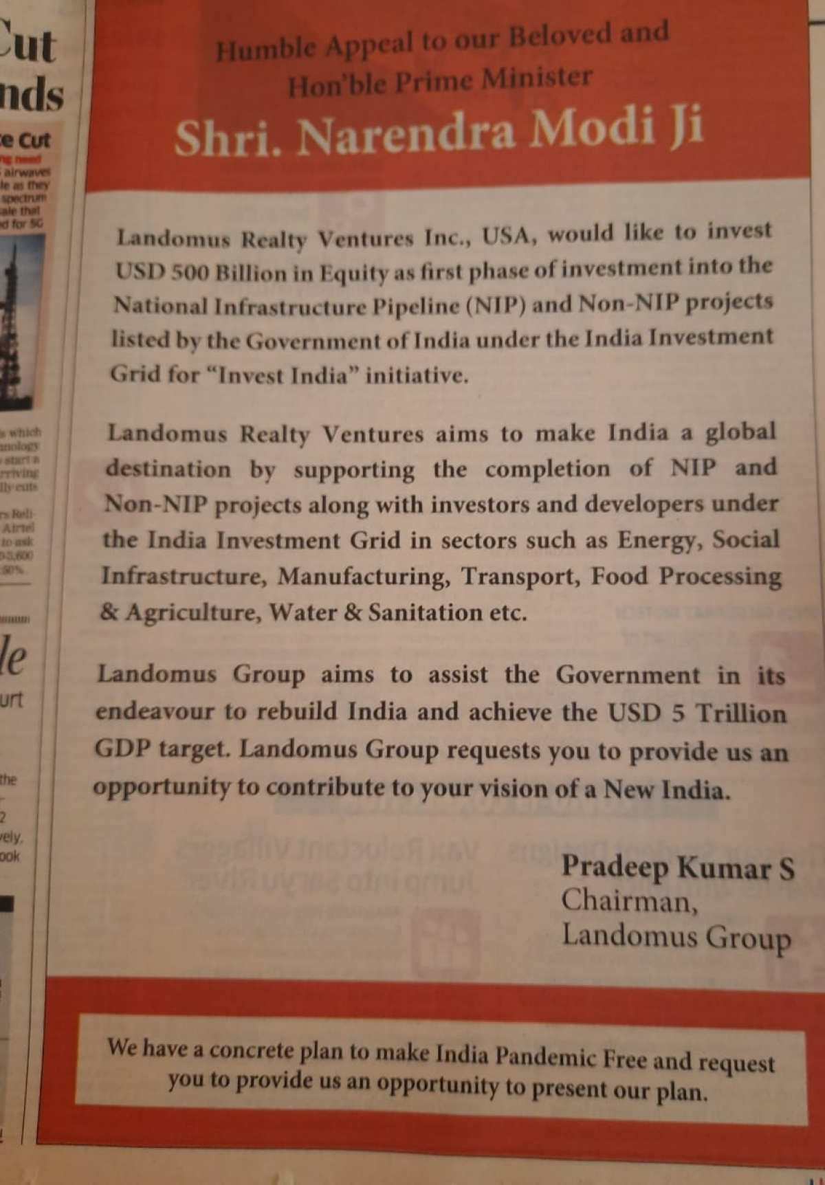 US-based realty firm wants to invest $500 bn in India's National Infrastructure Pipeline