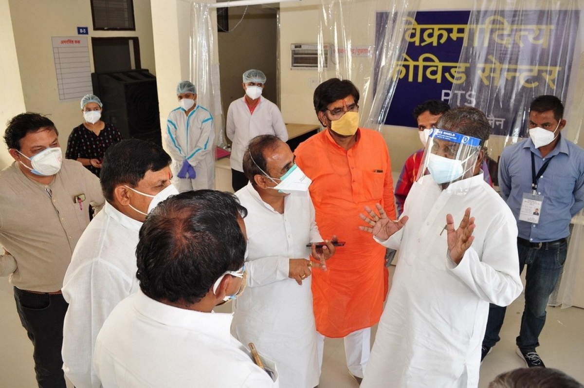 Health minister Dr Prabhuram Chaudhary conducting an inspection of Covid-19 Care Centre established at PTS.