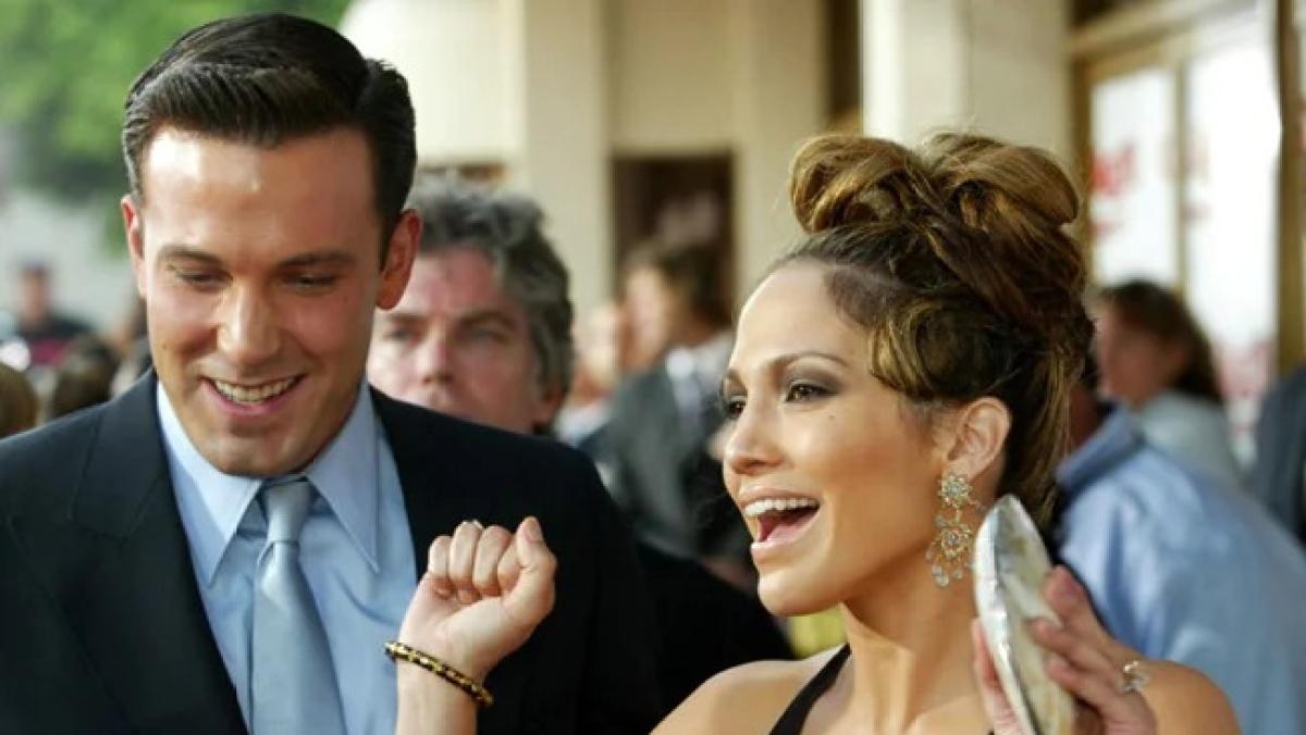 Jennifer Lopez and Ben Affleck at 'Gigli' premiere