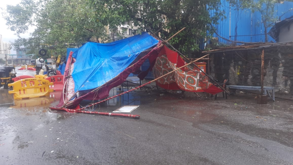 Local police tent in Dahisar collapses due to strong, gusty winds caused by Cyclone Tauktae in Arabian sea on May 17, 2021.