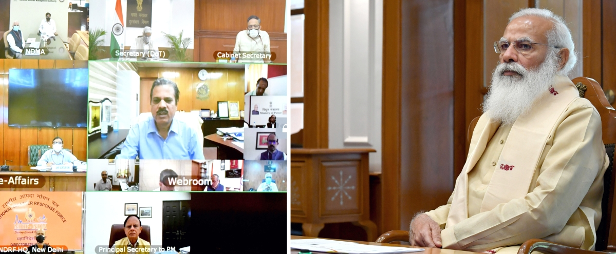 Prime Minister Narendra Modi chairing a high-level meeting to review preparedness and planning to tackle Cyclone Yaas through video conferencing, in New Delhi on Sunday.