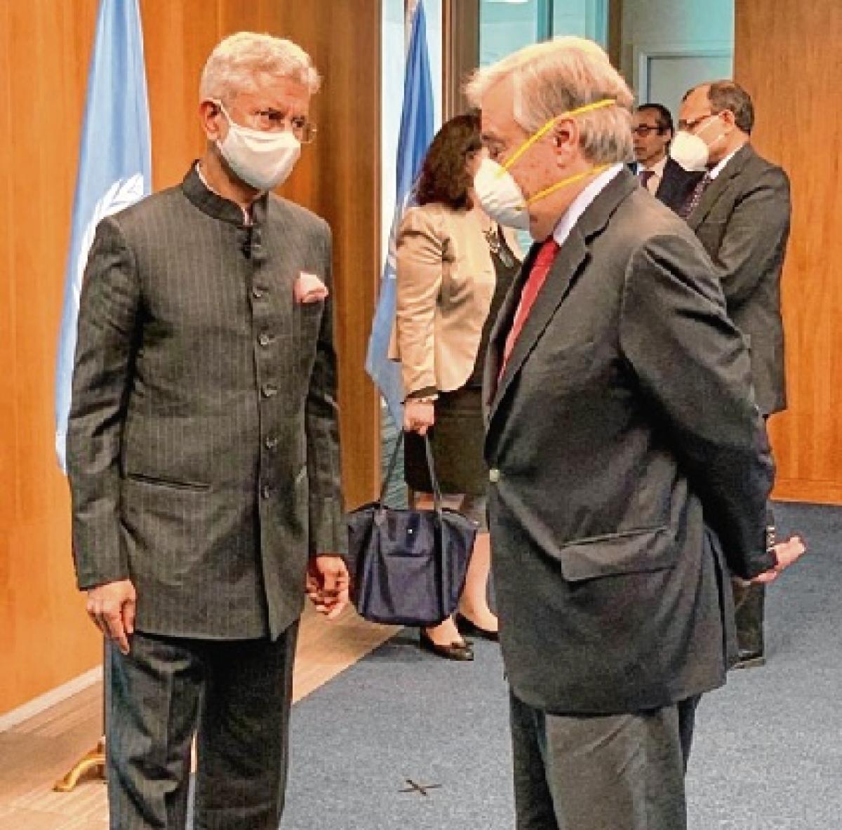 Jaishankar meets Guterres, discusses vaccine solutions