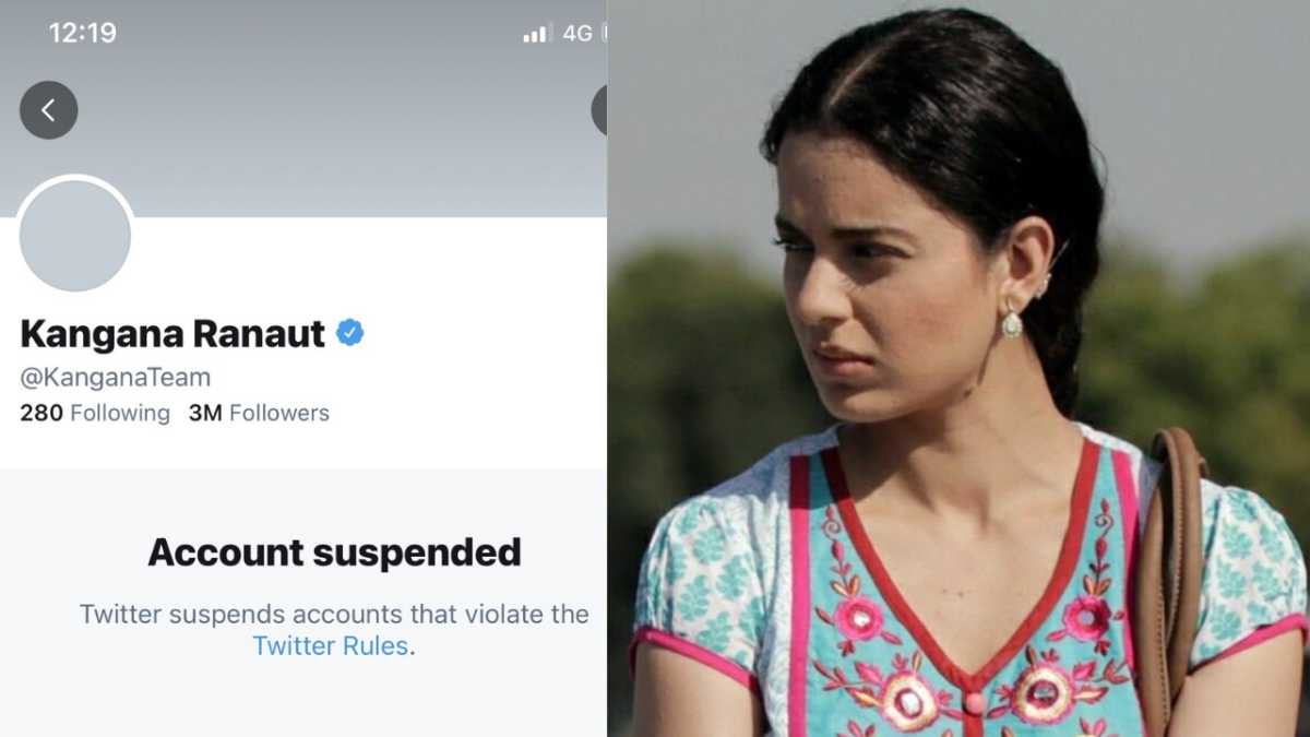 Twitter suspended Bollywood actor Kangana Ranaut's account for violating Twitter rules on Tuesday.