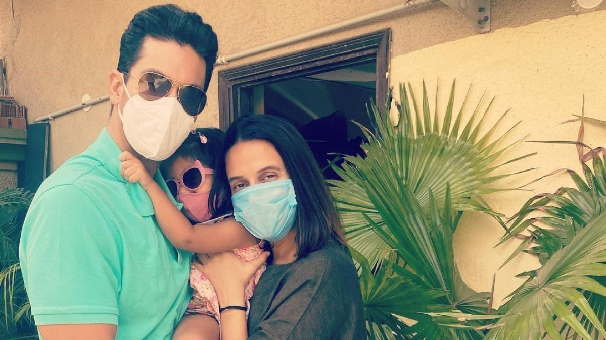 Watch: Angad Bedi reunites with wife Neha Dhupia and daughter Mehr post COVID-19 recovery
