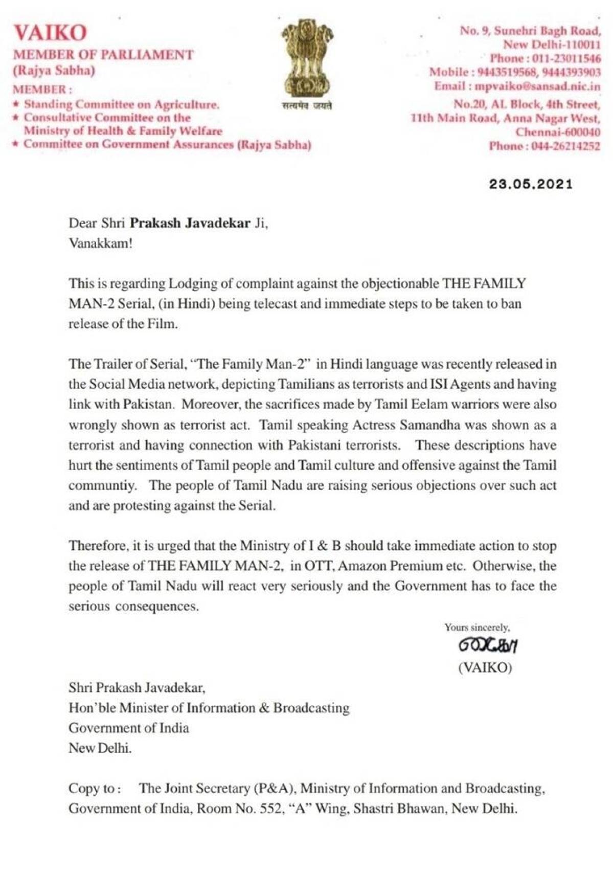 The Family Man 2: Rajya Sabha MP Vaiko writes to Prakash Javadekar seeking ban on Amazon Prime series