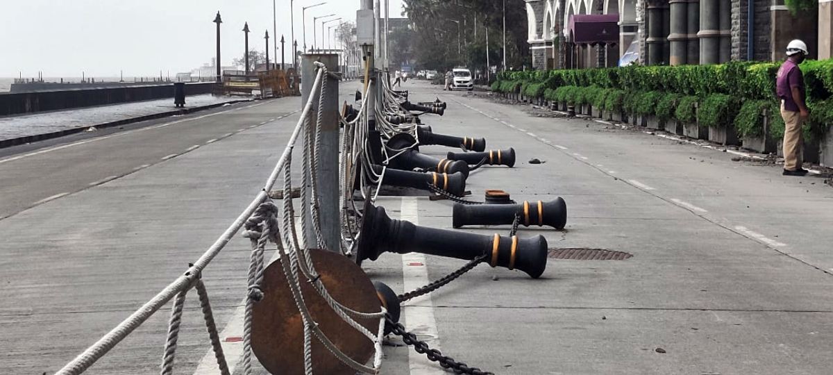 Maharashtra, May 18 (ANI): A view of the dividers near Gateway of India after Cyclone Tauktae hit, in Mumbai on Tuesday.