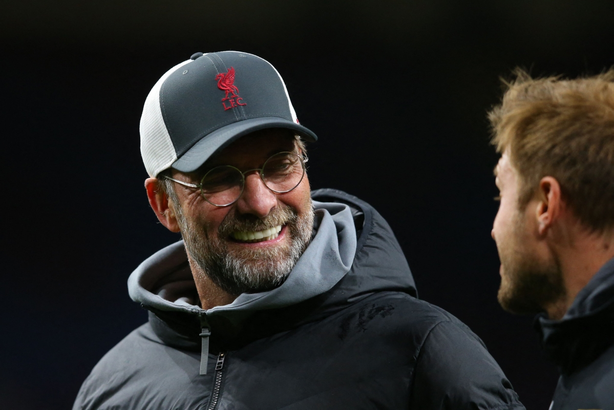 Liverpool's German manager Jurgen Klopp reacts at the final whistle during the English Premier League football against Burnley at Turf Moor in Burnley, north west England on Wednesday