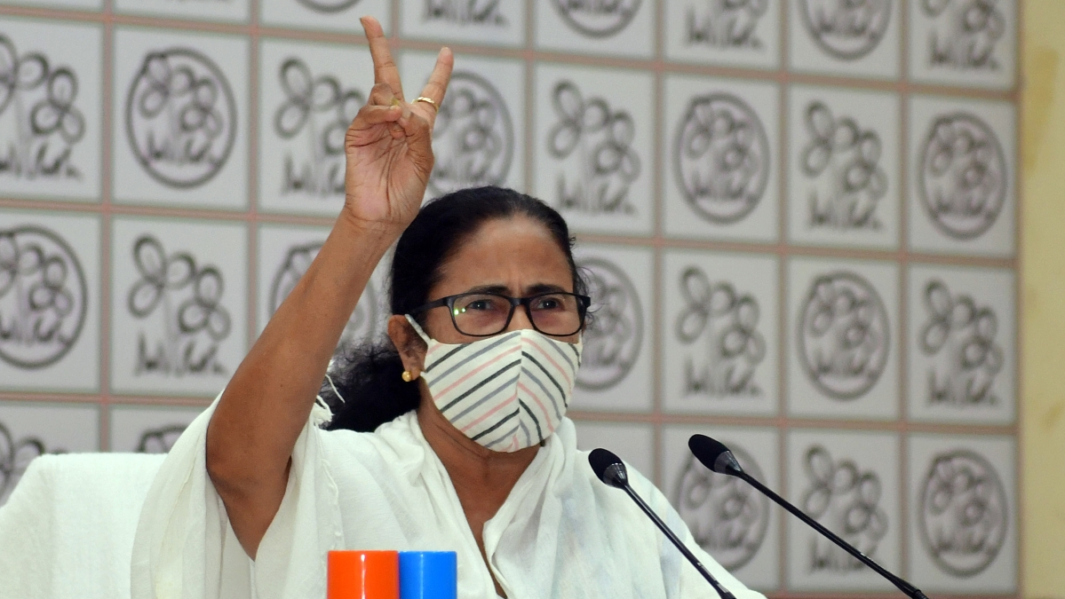 West Bengal Chief Minister Mamata Banerjee speaks to party workers via video conference, in Kolkata on April 30.