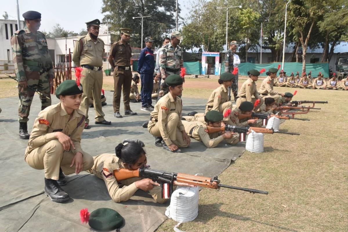 NCC cadets practise target shooting at Ujjain firing range
