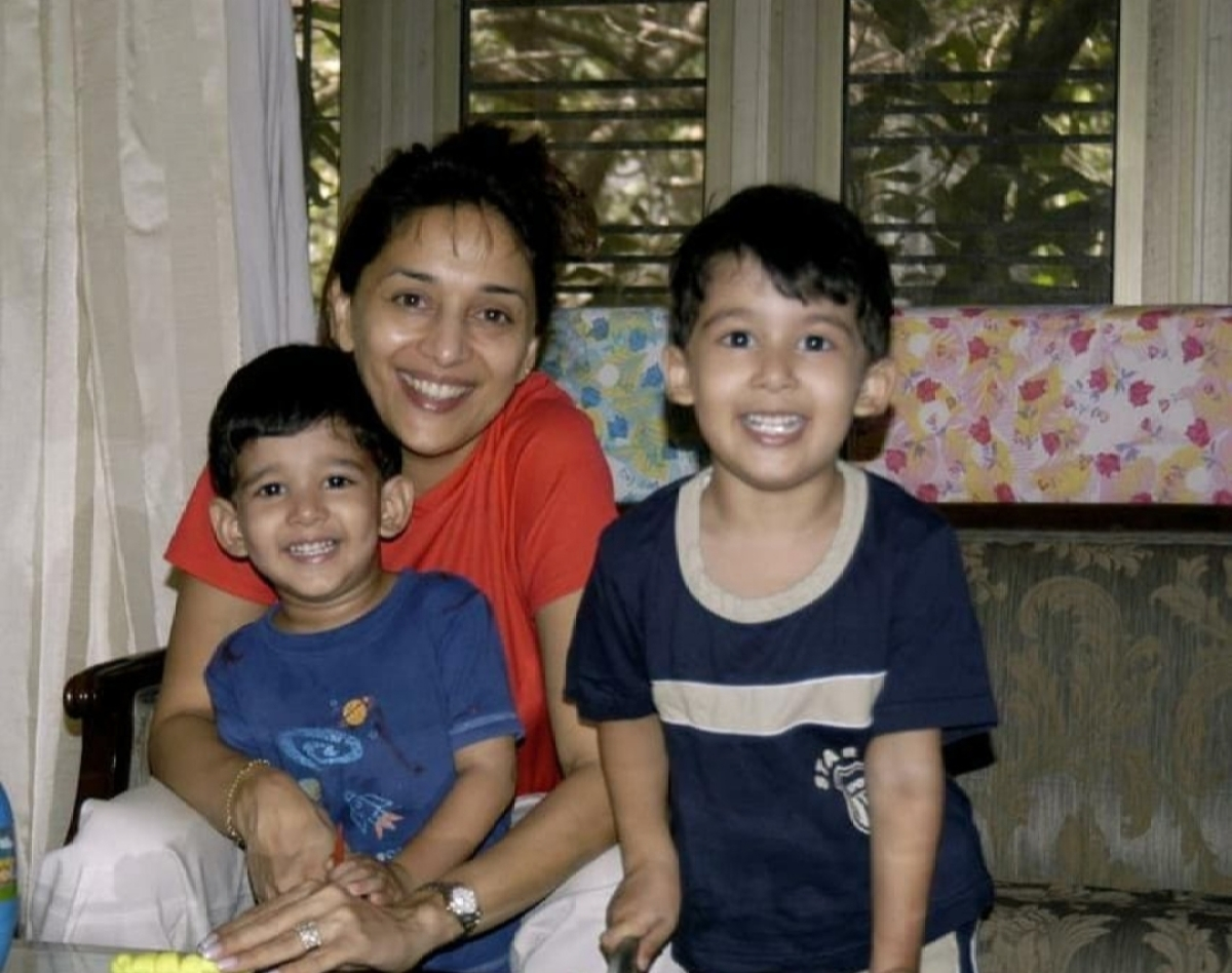 Madhuri Dixit and her baby boys