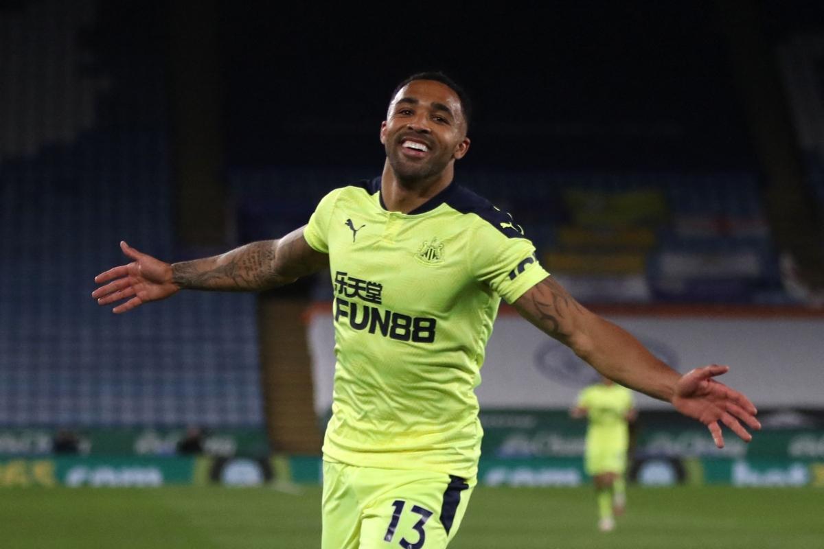 Newcastle United's English striker Callum Wilson celebrates scoring their third goal
