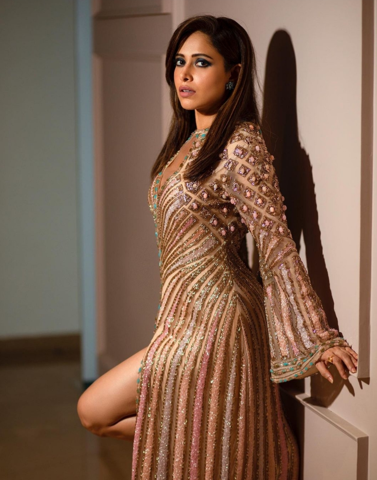 Nushrat Bharucha in a shiny outfit