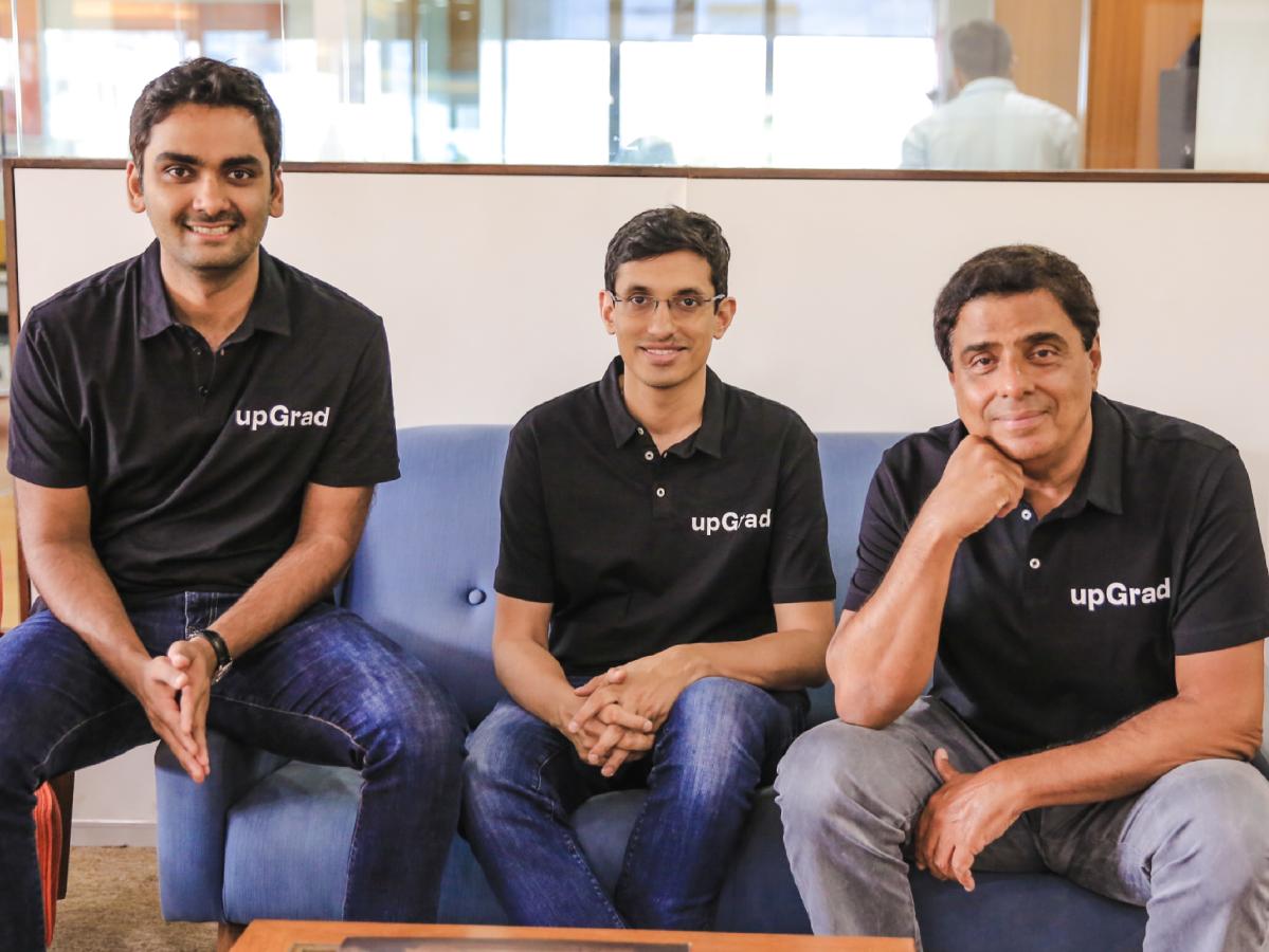 (l-r) Phalgun Kompalli, Co Founder,  Mayank Kumar, Co Founder and MD; Ronnie Screwvala, Executive Chairman, Co Founder, upGrad