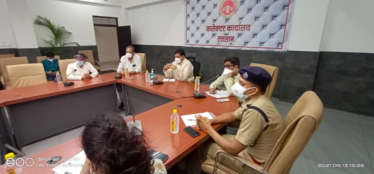 State higher education minister Mohan Yadav reviewing the Covid-19 situation in the district while addressing the meeting of the Crisis Management Group in Ratlam on Thursday