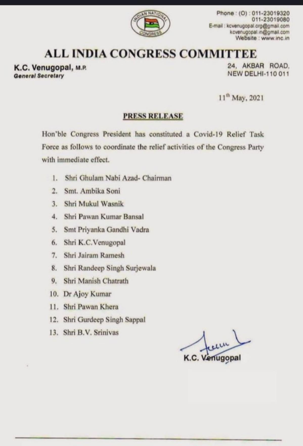 Ghulam Nabi Azad to head Congress task force on COVID-19
