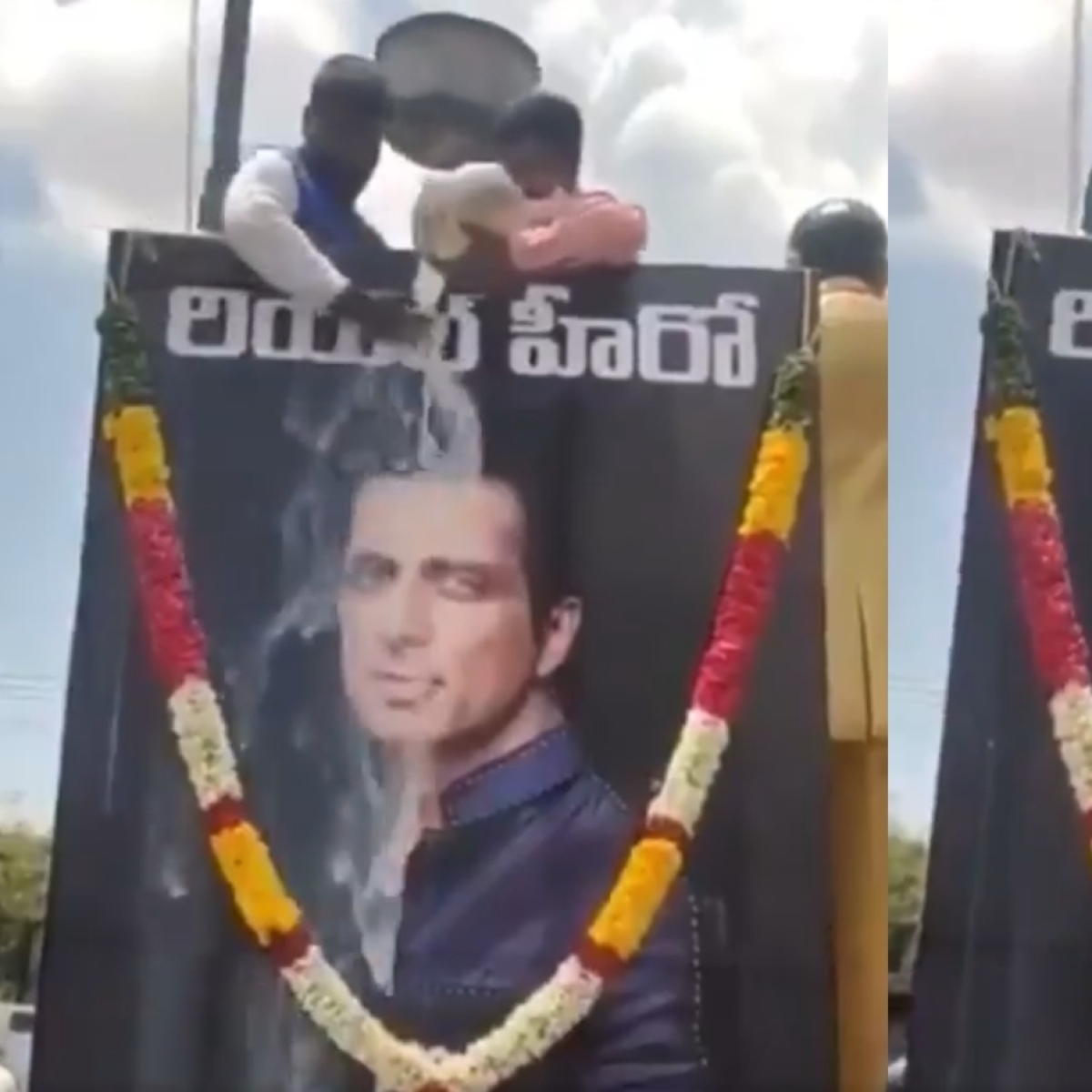 Watch: Man pours milk on Sonu Sood's life-size poster in Andhra Pradesh