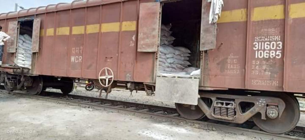 Sugar sacks loaded at Burhanpur railway station on Friday