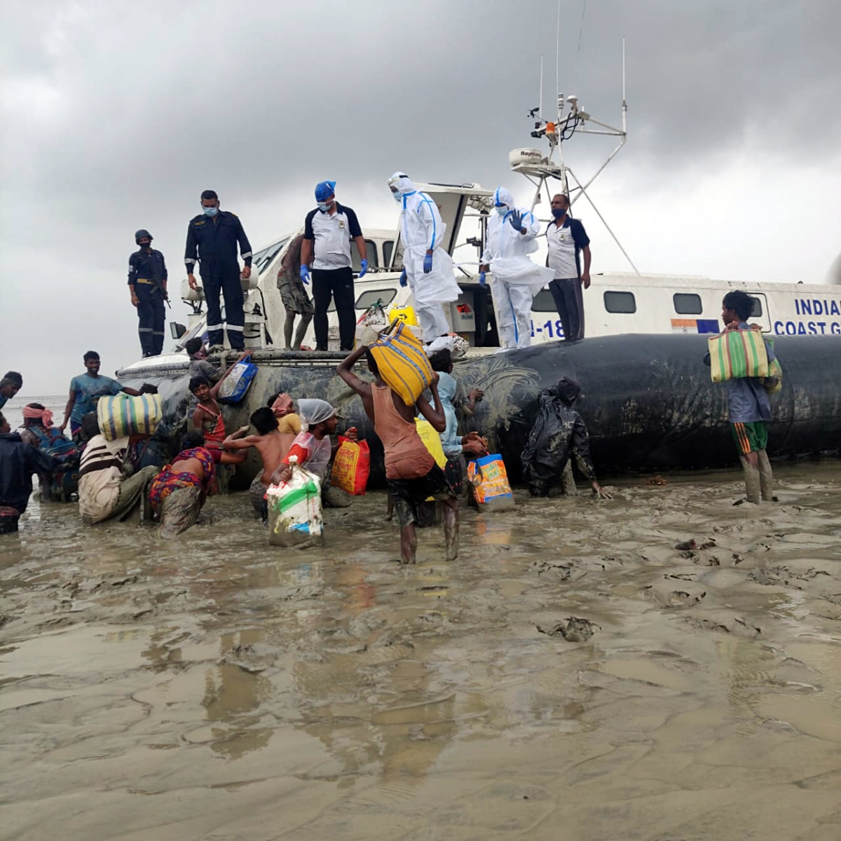 Indian Coast Guard personnel carried out a rescue operation after the landfall of Cyclone Yaas, in Bhubaneswar on Wednesday.