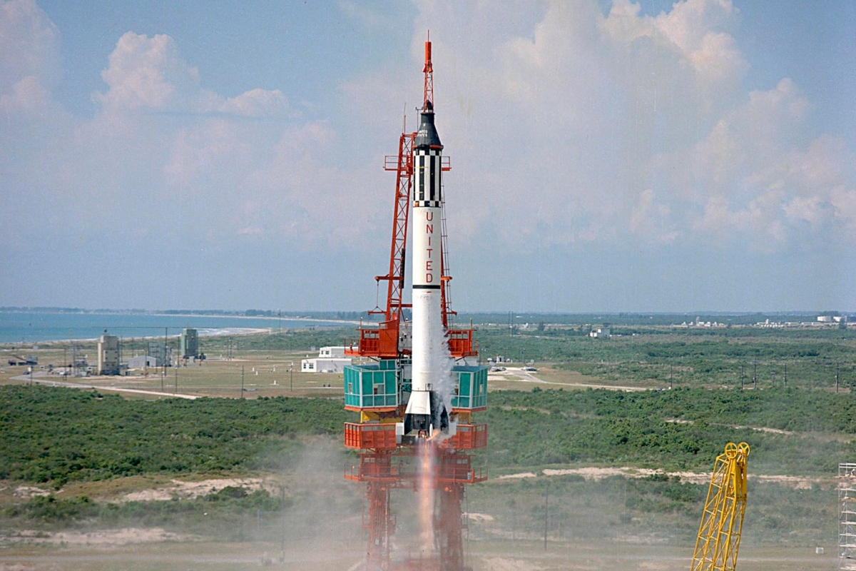 Astronaut Alan Shepard is launched into space atop a Mercury-Redstone rocket from Cape Canaveral, Fla. Freedom 7 was the first American manned suborbital space flight, making Shepard the first American in space.