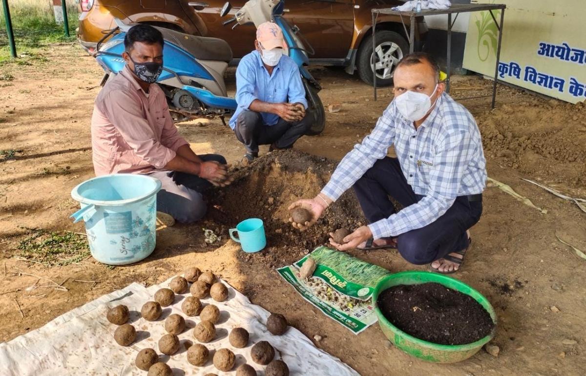 Dr Vishal Meshram preparing 'Seed' Bombs' at his official residence in Mandla district of Madhya Pradesh