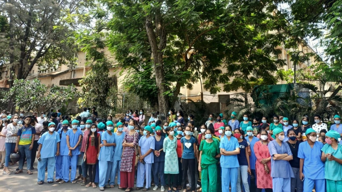 Mumbai: Health workers protest against lack of basic facilities at NESCO Covid Center in Goregaon