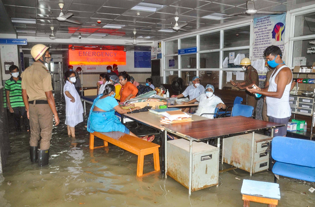 A flooded room after water entered inside Kakdwip Hospital following landfall of cyclone Yaas, at Kakdwip in South 24 Paragnas, Wednesday, May 26, 2021.