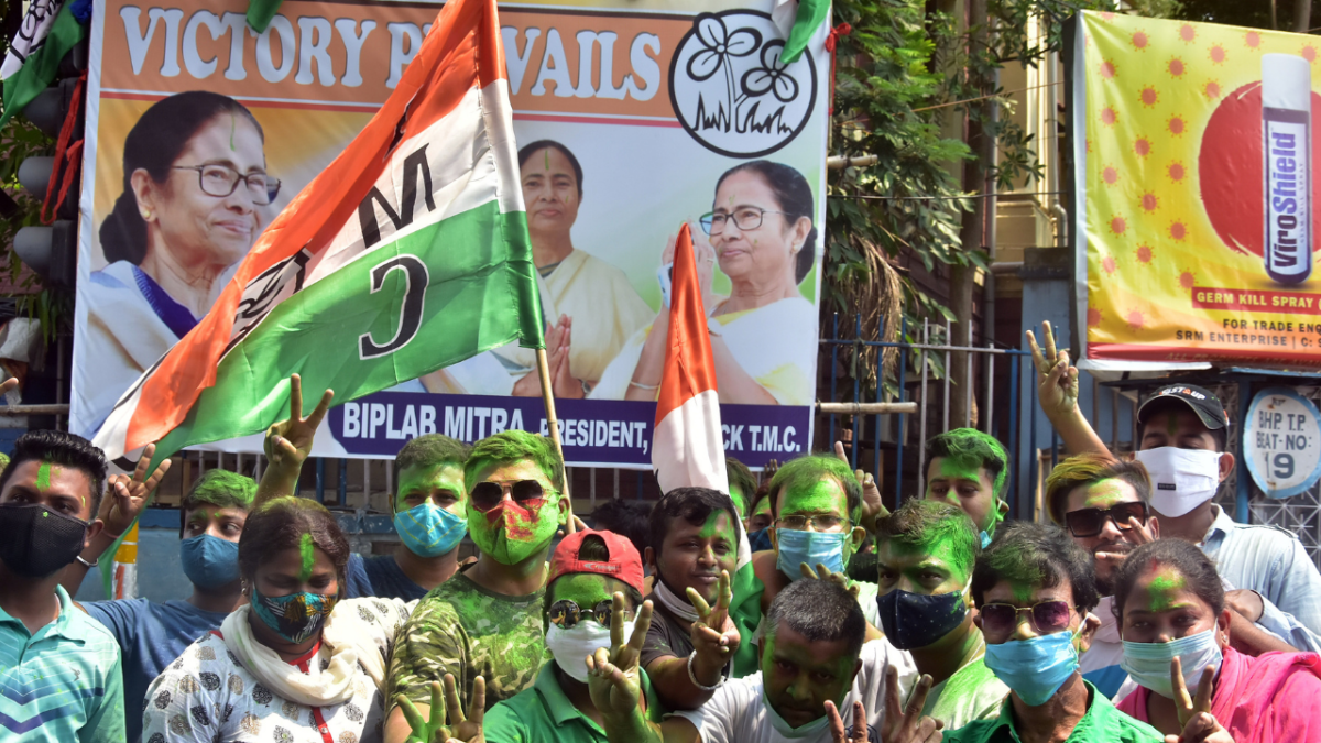 IN PHOTOS: TMC supporters take to the streets in celebration as Bengal poll trends indicate major win for party
