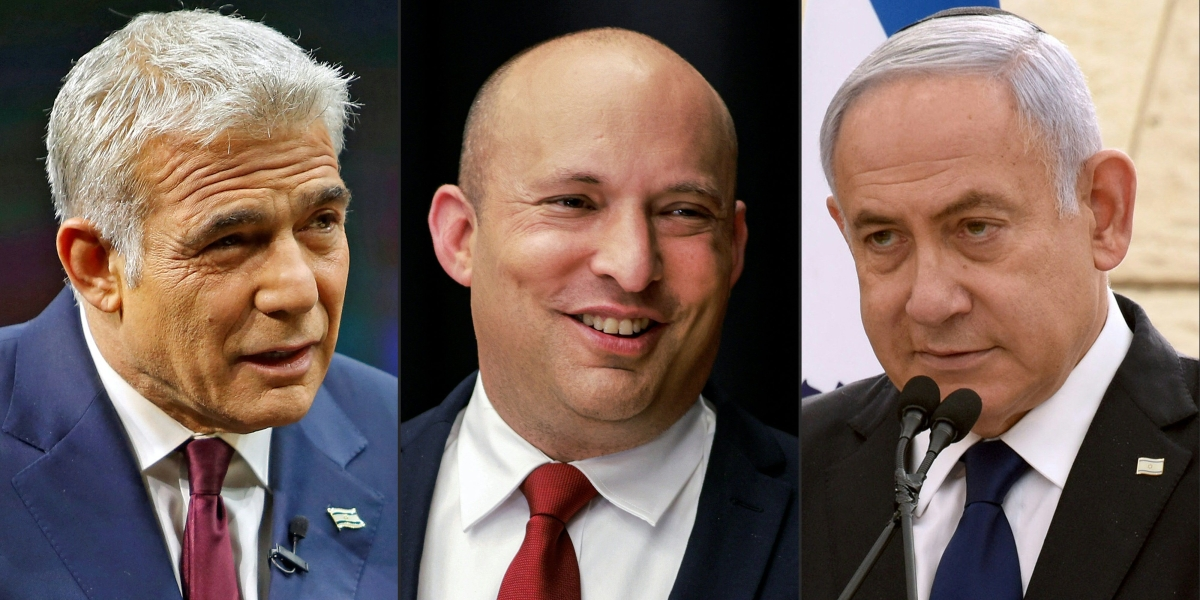 (L to R) Yair Lapid of the Yesh Atid (There Is a Future) party, Naftali Bennett (C) of the Yamina party and Israeli Prime Minister Benjamin Netanyahu of the Likud party