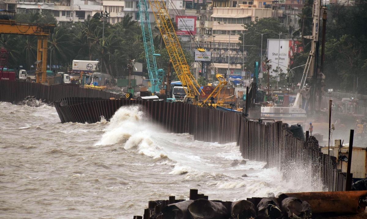 High tides at Mumbai coastal road due to cyclone Tauktae at Marine drive in Mumbai on Tuesday