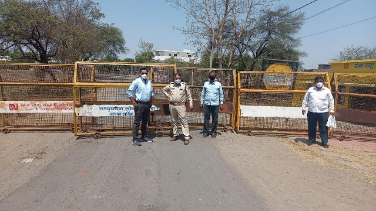 Barricades on Chintaman Ganesh Mandir-Mangrola village road during Janta Curfew in Ujjain on Friday