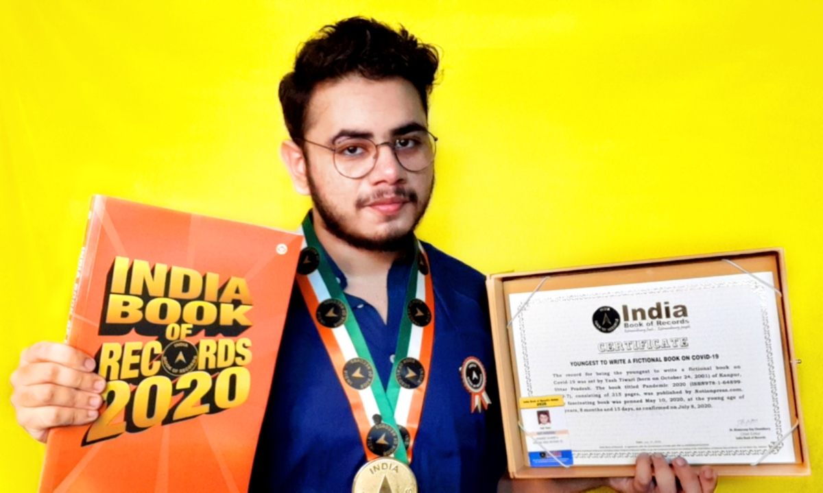 In Picture: Yash Tiwari features in the 'India Book of Records' as well as the 'Asia Book of Records' for being the youngest author to write a fiction novel on COVID-19.