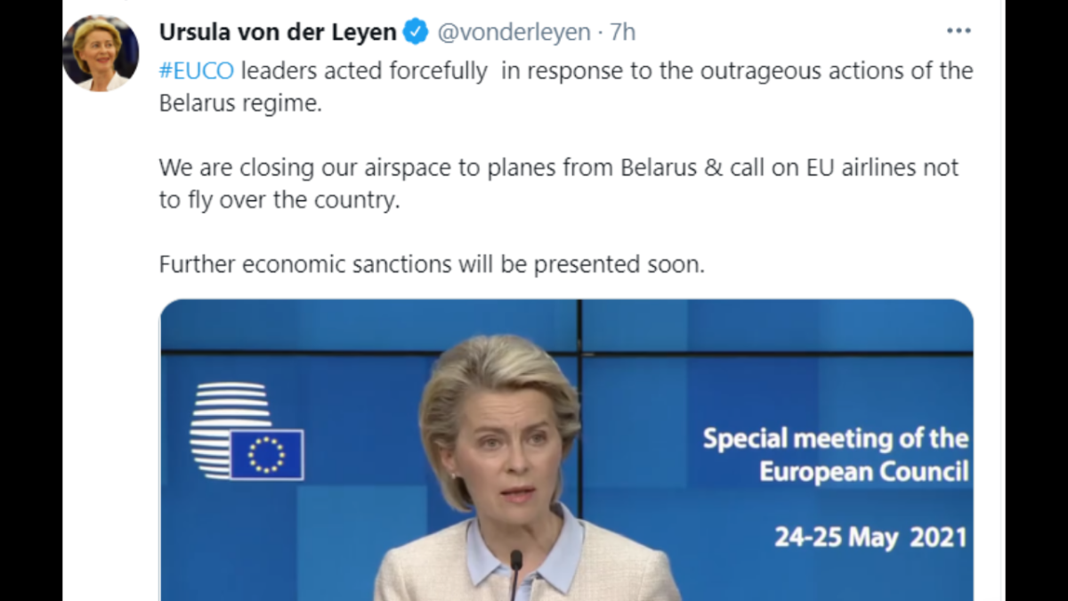 Leaders of the European Union (EU) member states on Monday agreed to cut the bloc's air links with Belarus following Sunday's Ryanair flight diversion incident.