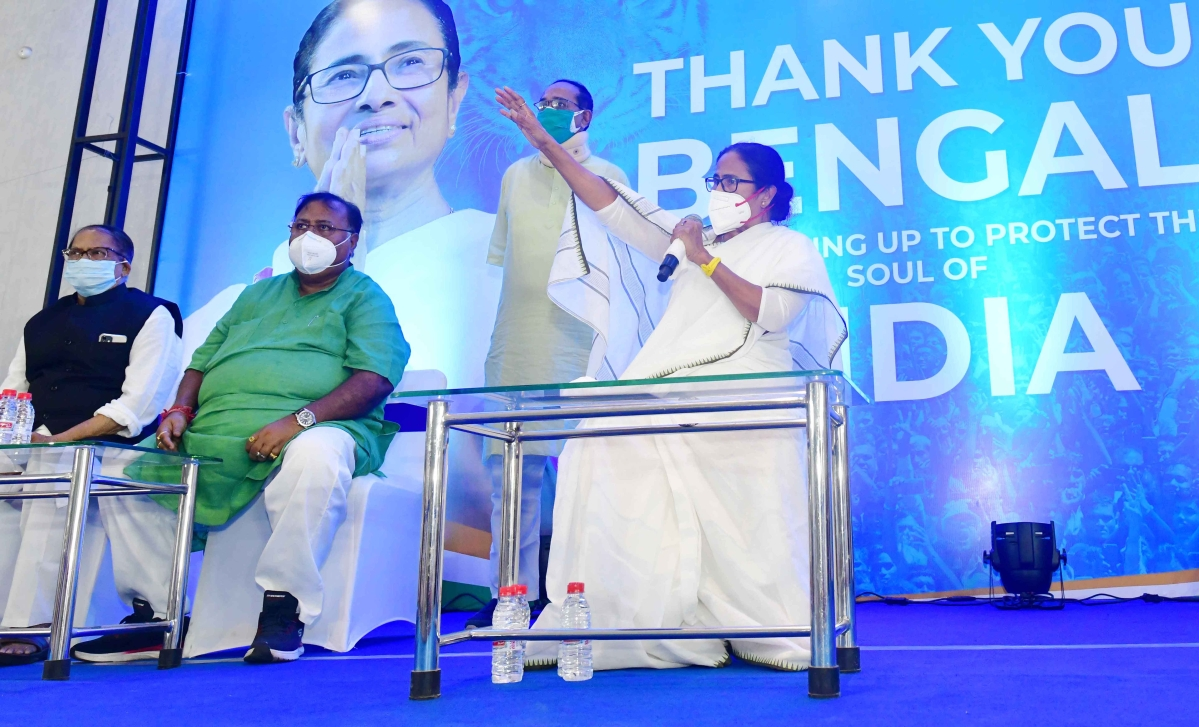 West Bengal, May 03 (ANI): Trinamool Congress (TMC) supremo Mamata Banerjee addresses party MLAs, in Kolkata on Monday.