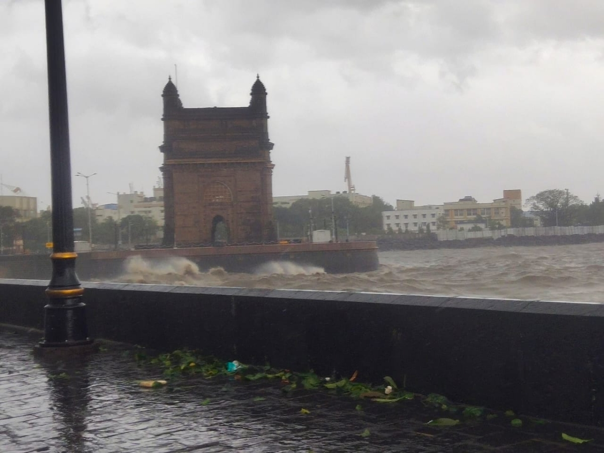 Huge waves witnessed at the Gateway of India, Mumbai as the city faced Cyclone Tauktae on May 17, 2021.