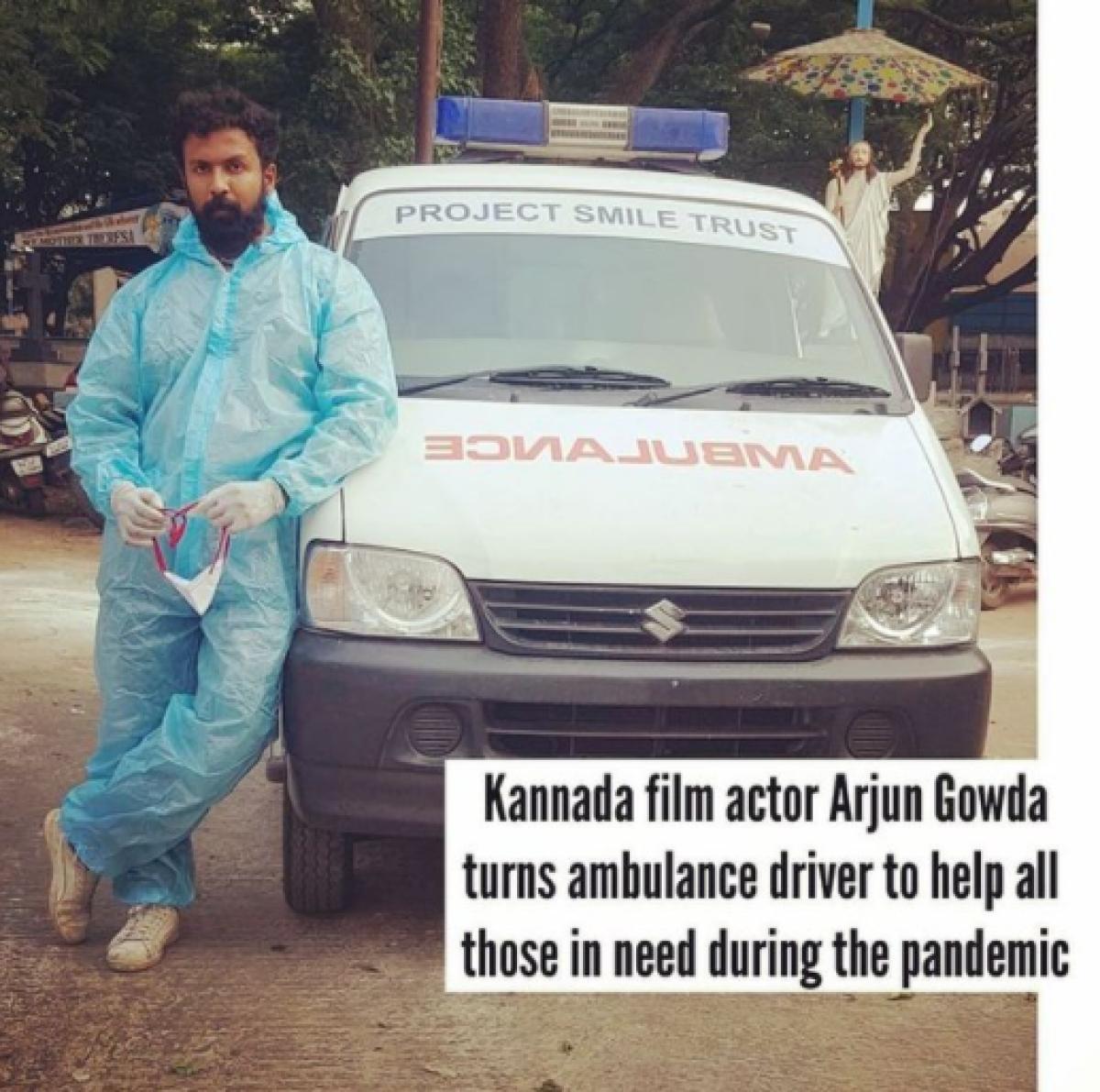 Kannada actor Arjun Gowda turns ambulance driver to help people amid COVID-19 crisis
