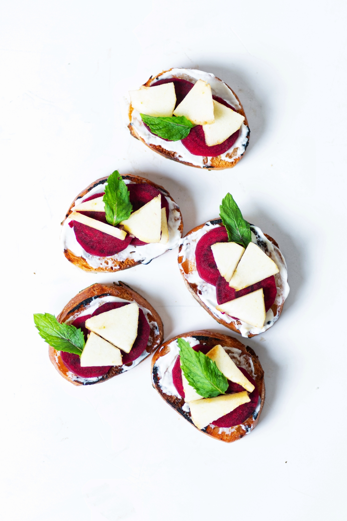 Sourdough Baguette with goats cheese, beetroot and apples by Aditi Handa