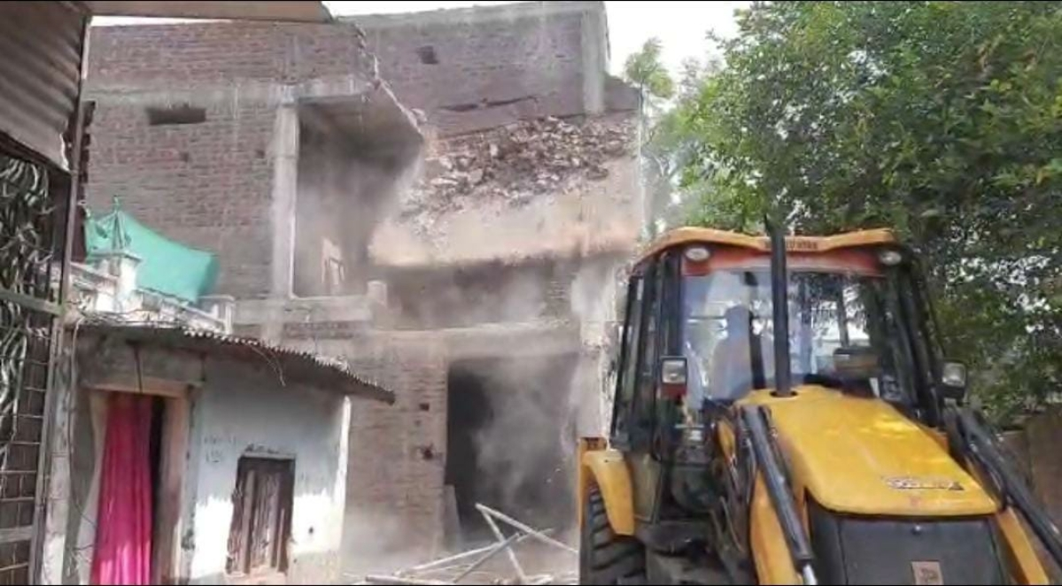 The double storeyed house of main accused Imtiaz, resident of Dedtalai, was demolished on Tuesday morning